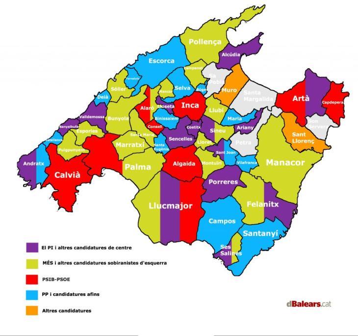 Mapa de les batlies dels municipis de Mallorca