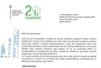 Santiago demana, en una carta escrita en castellà, una reunió a Iglesias i Escrivá per parlar de les qüestions socials que els afecten més enllà de la Covid-19