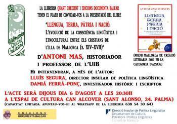 L'historiador Antoni Mas presenta el llibre 'Llengua, terra, pàtria i nació' aquest dijous a Can Alcover