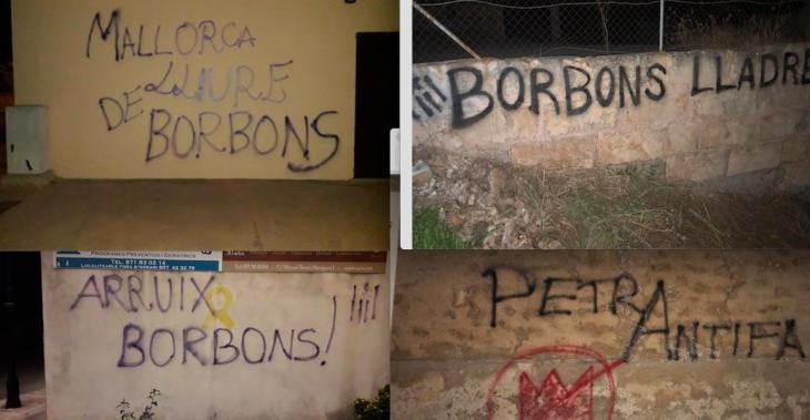 Apareixen pintades contra els Borbons a diversos llocs de Petra