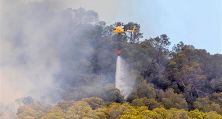 Els serveis d'emergències controlen l'incendi forestal d'Eivissa