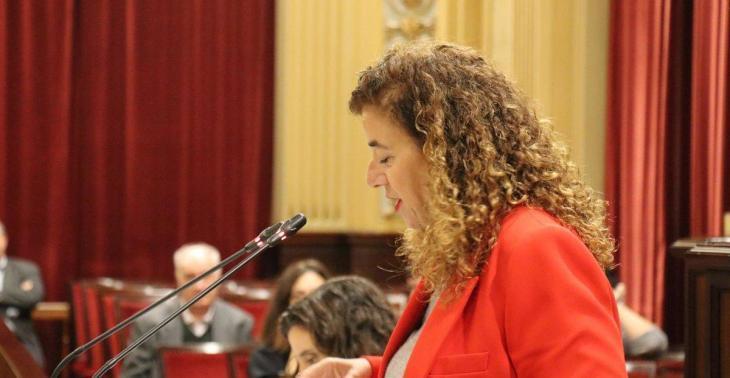 La consellera de Presidencia, Cultura e Igualdad, Pilar Costa, interviene en el pleno del Parlament para defender el presupuesto de su área para 2020.