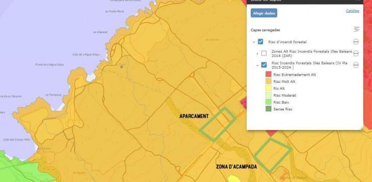 El GOB apunta que l'àrea d'acampada prevista a Es Canons és una zona 'Risc Molt Alt' d'incendi